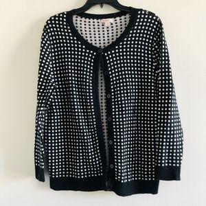 Target Merona Black White Dot Cardigan Sweater XXL